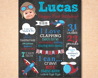 Airplane Birthday Decoration - Gift - Keepsake - Printable First Birthday Chalkboard - Aviation - Any Age