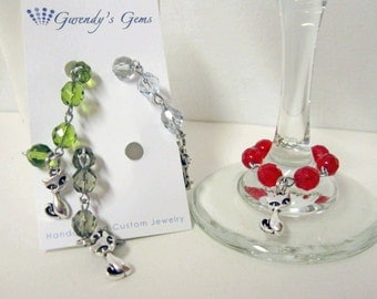 50% OFF - Cat wine glass charms - set of 4 - WGC-060