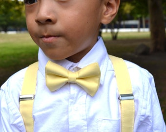 Pale Yellow bow tie and Suspender Set for baby/toddler/teen/adult