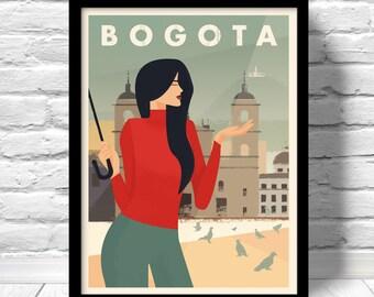 Bogota Poster, travel print, monserrate poster, plaza de bolivar print, Colombia Art Print