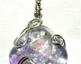 """Living Tribute or Crematory Memorial Cast Art Glass """"Lavender Fields""""  in our Sterling Silver Spring Wrap Collection 1"""" sq. Cab pendant"""