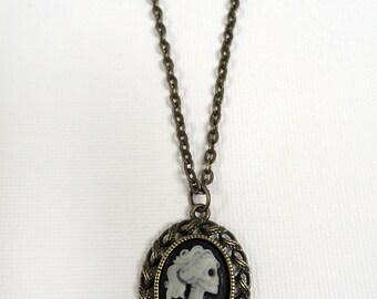 Bronze Skeleton Cameo Beaded Necklace