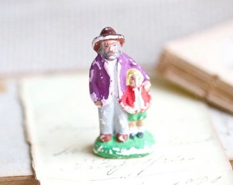 Farmer and Little Red Ridding Hood - Vintage Miniature Clay Figure - Folk Art