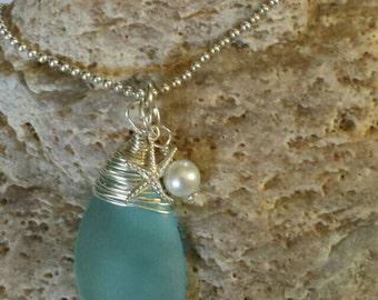 Sea Necklace, Ocean Necklace, Beach Lover Necklace, Blue glass necklace, Beach Necklace, Glass and starfish necklace, glass necklace, Beach
