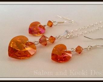 Orange Swarovski Jewelry Set, Orange Heart Necklace, Astral Pink Crystal Earrings, Gift For Her Under 30, Girlfriend Gift, Valentines Gift.