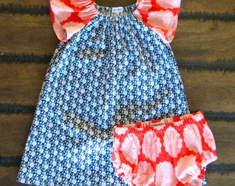 Organic girls dress with bloomers /  Toddlers Dress 2 years / Flutter sleeve dress / Organic girls clothes / Dress with flowers / Retro girl