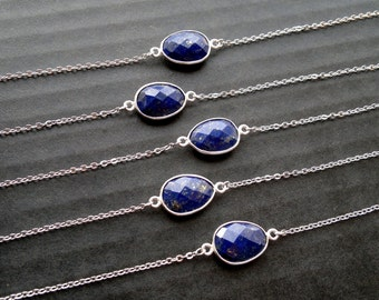 Lapis Lazuli Bracelet Silver Lapis Bracelet Lapis Bezel Bracelet Lapis Lazuli Jewelry Blue Stone Bracelet Mineral Bracelet Chain and Stone