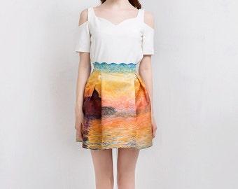 Fine Art Collection Monet oil painting sunset short skirt