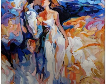 Dance of Romance - Hand Painted Abstract Figurative Oil Painting On Canvas