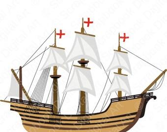 Mayflower Digital Clip Art. Carabela clipart. Caravel clipart. Barco, La nina, La Pinta, La Santa Maria.