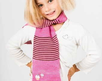 Pink Scarf, Striped Scarf, Girls Scarf, Cupcake Scarf, Personalised Scarf, Birthday Gift, Neck Warmer, Children's Scarf, Kids Scarf, 123