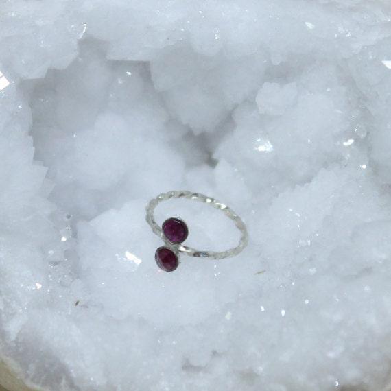 2mm Ruby Nose Ring - Silver Nose Hoop - Tragus Earring - Cartilage Hoop - Forward Helix Earring - Septum Ring - Nose Piercing 20 gauge