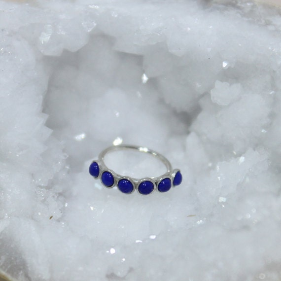 2mm Lapis Nose Ring - Silver Nose Hoop - Rook Piercing - Cartilage Earring - Tragus Earring - Daith Ring - Helix Hoop - Nose Piercing 20g
