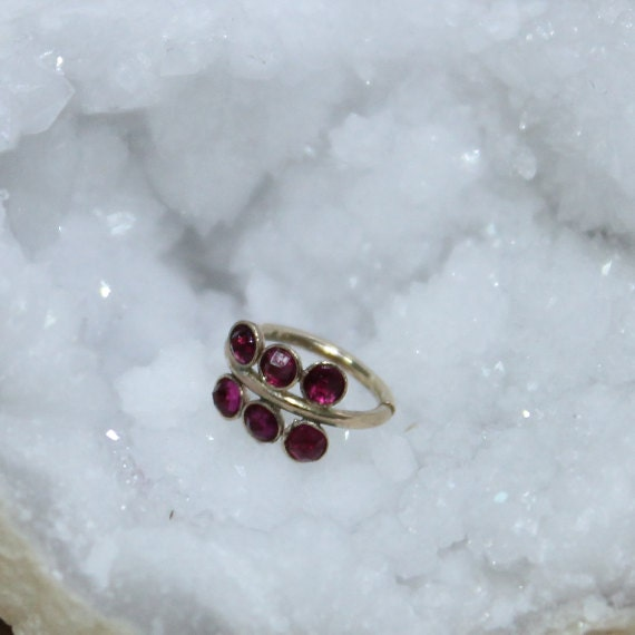 Gold Nose Ring 18g - Tragus Ring 2mm Ruby - Forward Helix Earring - Cartilage Earring - Rook Jewelry - Daith Jewelry - Conch Earring