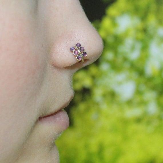 Nose Ring - Gold Nose Hoop - 2mm Amethyst Helix Earring - Rook Piercing Jewelry - Septum Ring - Tragus Hoop - Cartilage Piercing - 18g