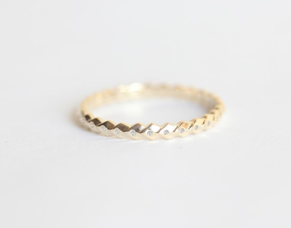 Simple Gold Wedding Ring Thin Diamond Band Leaf