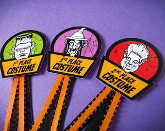 Halloween Costume Award Ribbons, cute monster prize and contest ribbon badges, party favor, costume decoration, first place award ribbon