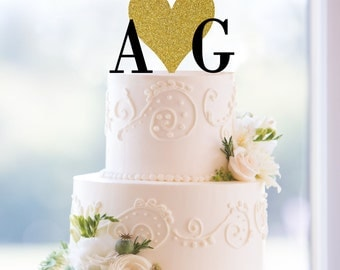 Monogram Wedding Cake Topper, Custom Two Initials and Large Heart Topper - (T173)