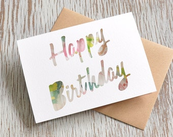 Happy Birthday Paper Cut Greetings Card with Watercolour Insert