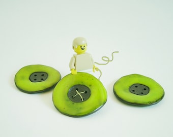 Apple green Round Ceramic  Buttons, Large buttons, Handmade Stoneware Buttons, Sewing Supplies