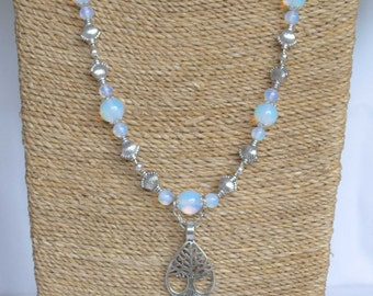 Opalite and Tibetan Silver Tree of Life Pendant Necklace