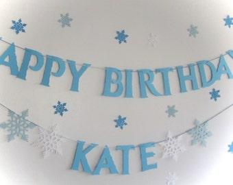 Frozen Banner, Frozen Birthday, Snowflake Banner,Elsa, Frozen Princesses, Happy Birthday Banner, Personalized Frozen,Frozen Party,Blue White