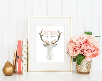 Printable Art 8x10 Instant Download, Sweet Dreams My Deer, Floral, Deer, Coral, Feminine, Home decor #h001