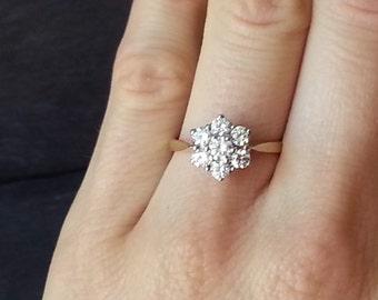 Floral Diamond Engagement Ring, Diamond Flower, Flower Ring, Gold Diamond Cluster Ring