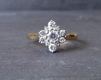 Vintage 0.53 carat Floral Diamond Engagement Ring, Diamond Flower, Flower Ring, Gold Diamond Cluster Ring