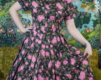 "50s Floral Dress | 50s New Look Dress | New Look Dress | 50s Cotton Dress | 50s Party Dress | 50s Full Skirt | 50s Rose Dress | 32"" Waist"