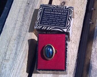 Vintage AVON PATTERNS Fashion Ring Perfume Glace - Look of Black Onyx