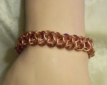 CLEARANCE/Mens Copper Chainmaille Bracelet/ Battenburg-Kingscale/Up to 9 Inches/ Ladies Too!/Was 15.00