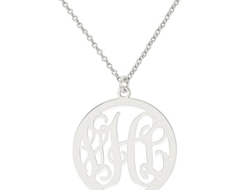 Custom Made 3 Initials Monogram Circle Necklace in Rhodium White Gold Over 925 Sterling Silver - Monogram Necklace - Nameplate Necklace