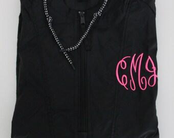 Rain Jacket, Monogrammed Embroidered Quarter Zip Rain Jacket Pullover, Monogrammed Rain Coat