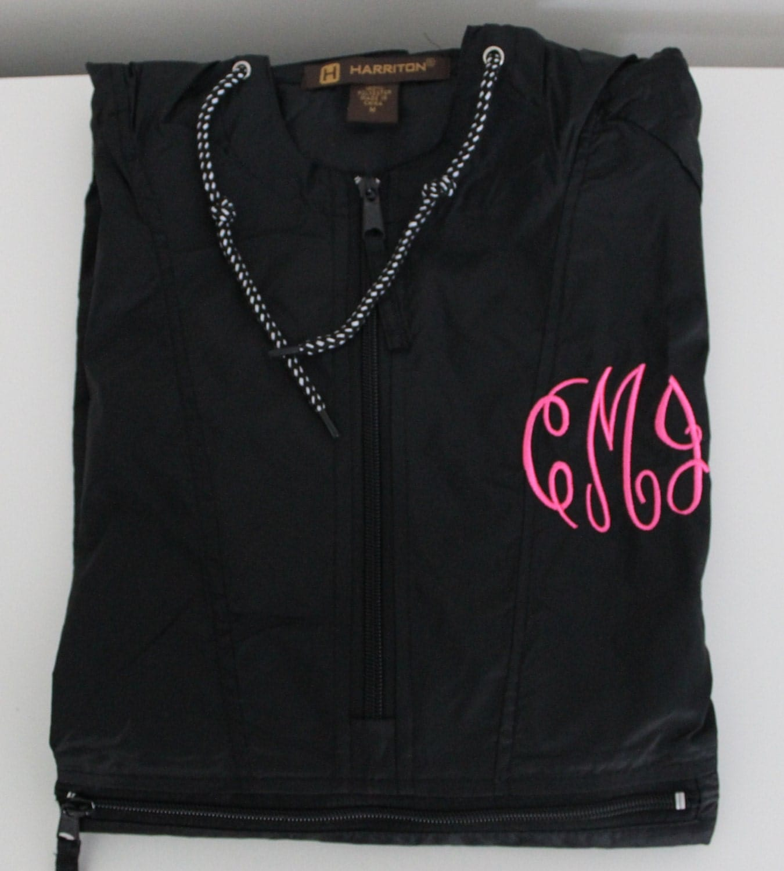 Rain jacket monogrammed embroidered quarter zip