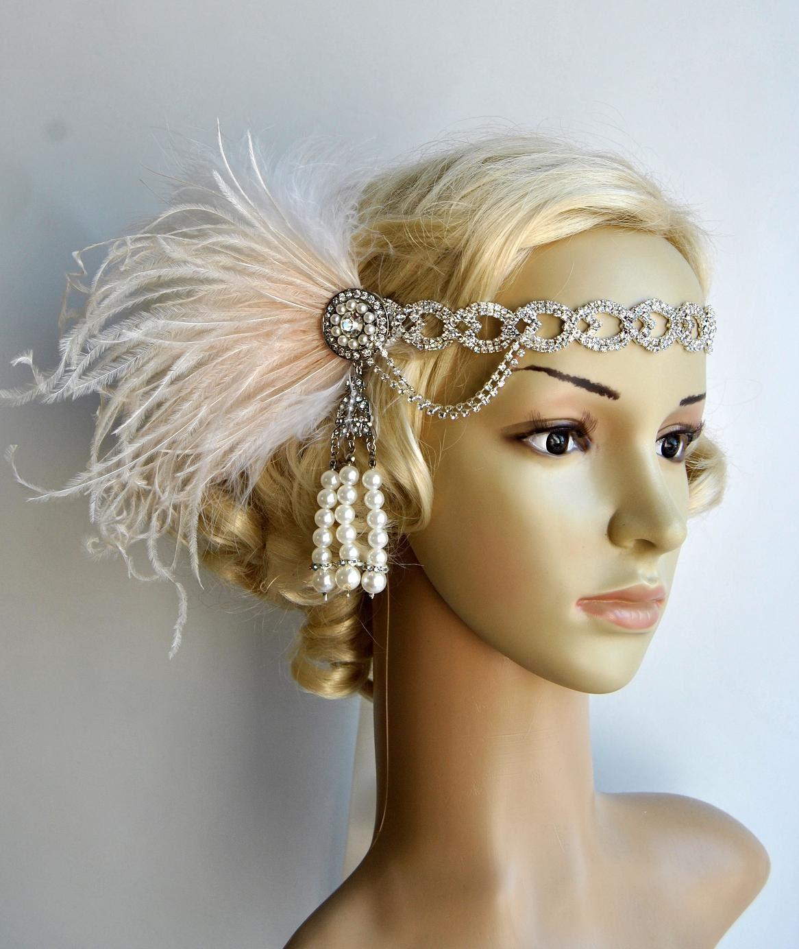 Flapper Headpiece: The Great Gatsby 20's Rhinestone Pearls 20's Flapper