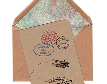 Wedding Invitation, Travel wedding invitation, Vintage wedding invitation, Passport invite, Destination wedding invitation, map invite