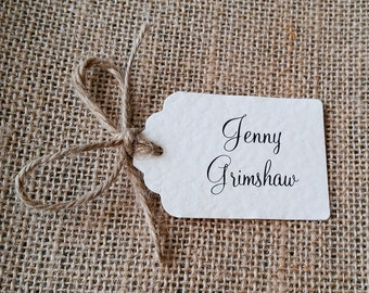 Rustic, Ivory Wedding Place Card Tag with Twine Bow