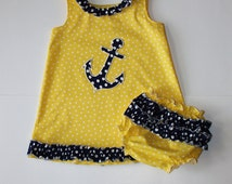 Nautical Girls Boutique Ruffled Jumper Dress,  Anchor Applique. Ruffle Diaper cover.  made to order.