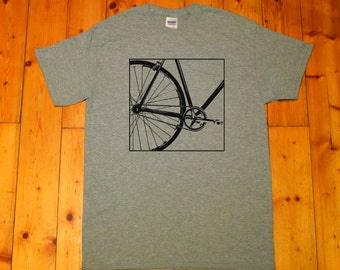 Fixie, Single Speed bike, Fixed gear bike, bicycle - Retro screen printed T-shirt