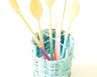 Utensil pot, wicker, PASTEL NATURE -- Ice blue wicker utensil holder, kitchenware, cookware, decor, handpainted by SophieLDesign