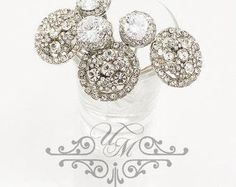 Set of 6 Wedding Accessories Rhinestone hair pins Zirconia hair pins Wedding hair pins Bridal hair pins Bridesmaids hair pins - OLIVE MACEY