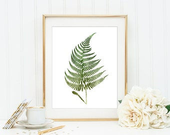 Green Fern Watercolor Wall Art Print - Printable Fern Upon White Background - Woodland Fern Art - Digital Modern Art - INSTANT DOWNLOAD #925