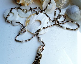 Mother of Pearl Shell and Cream Fresh Water Pearl Copper and Bronze Crystal Tassel Statement Necklace
