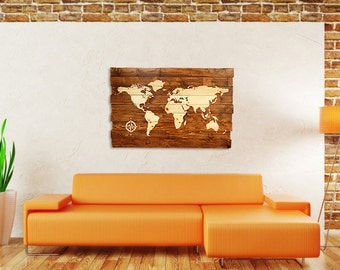 Wood Map Wall Art extra large rustic stained wood world map wall art 50