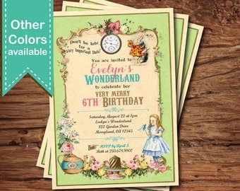 Alice in wonderland invitation. Girl birthday party invitation. Any age. Mad hatter tea party 1st 2nd 3rd 5th 10th birthday invite KB166