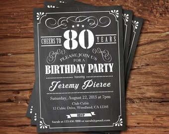 80th Birthday chalkboard invitation. Cheers to 80 year. Whiskey black and white chalkboard. Any age. Birthday drinks printable invite. AB135
