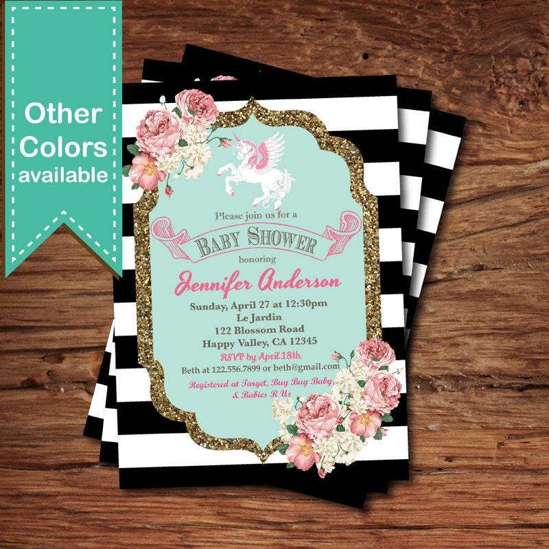 unicorn baby shower invitation. french black and white,