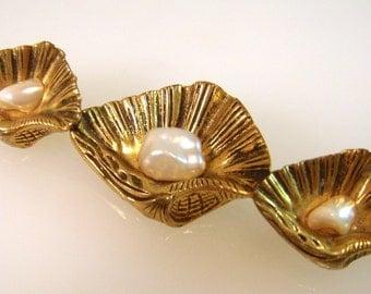 Antique Victorian Era Sterling Gilt Natural Blister Pearl Sea Shell Brooch 1900