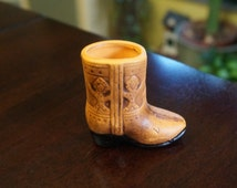 Ceramic Cowboy boot toothpick Holder; Approx. 2.5 x 2.5 Inches